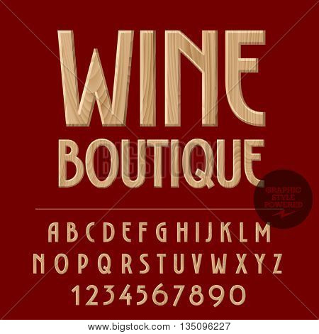 Vector set of alphabet letters, numbers and punctuation symbols. Wood emblem with text Wine boutique