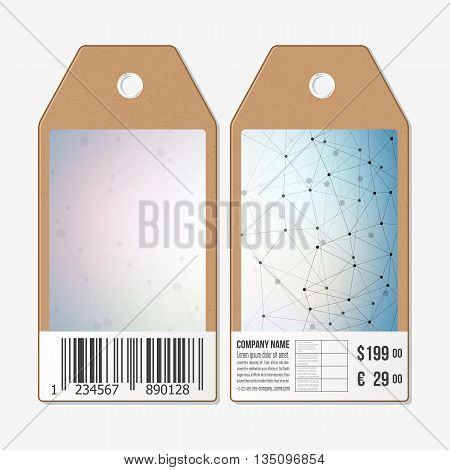Tags design on both sides, cardboard sale labels with barcode. Molecule structure, connection vector, science polygonal background.