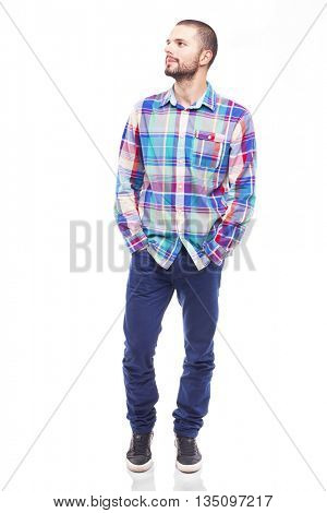 Handsome casual man looking forward, isolated on white background