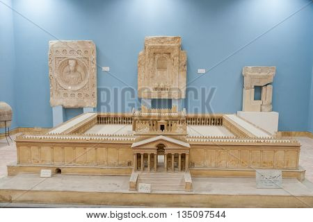 Palmyra Syria- November 28 2008: Small scale model of the beautiful temple of Palmyra in Palmyra museum.