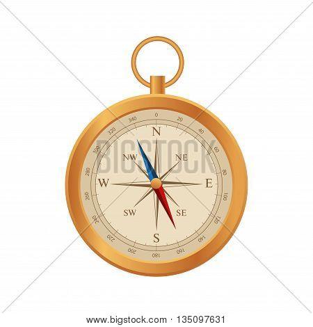 Compass vector. Wind rose retro design. Flat 3d vector isometric illustration