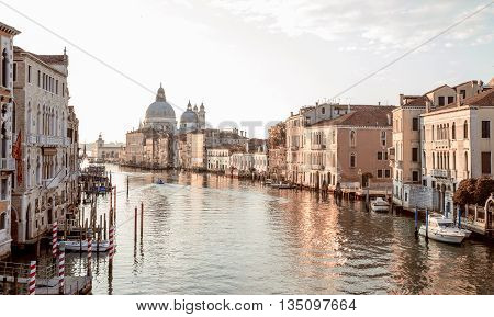 View from Accademia Bridge on Grand Canal in Venice