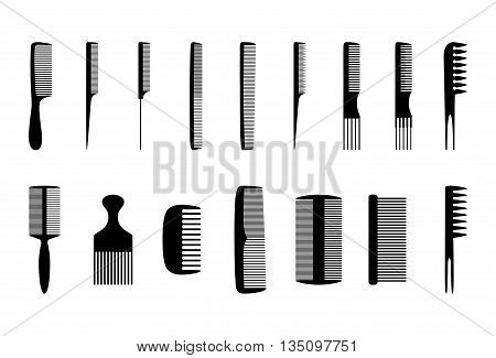 Set of black combs on white background, vector illustration