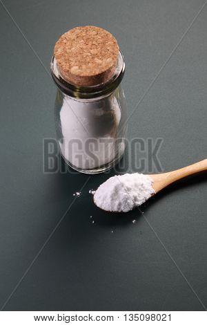 top view of baking soda on the blackboard