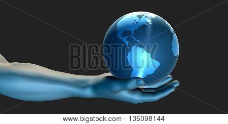 Businessman Holding the World in His Hands Illustration 3d Illustration Render