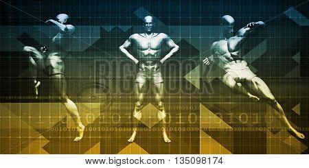 Fitness Training with Muay Thai Attack Pose Art 3d Illustration Render