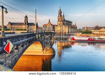 Dresden Hofkirche and bridge at a sunrise