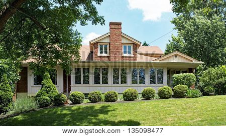 Craftsman Style House with Shrubs