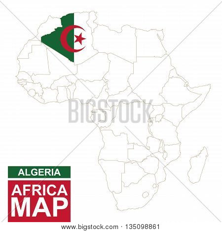 Africa Contoured Map With Highlighted Algeria.