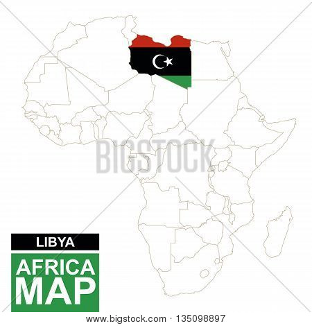 Africa Contoured Map With Highlighted Libya.