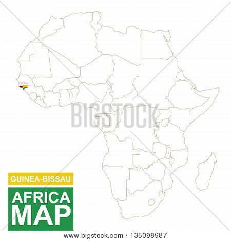 Africa Contoured Map With Highlighted Guinea-bissau.