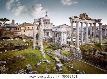 Ruins of Roman Forum in Rome Italy
