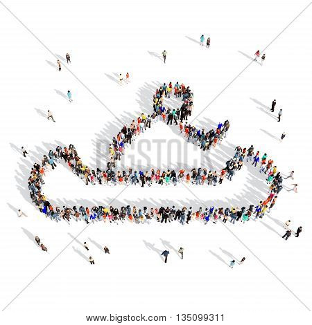 Large and creative group of people gathered together in the shape of man, canoeing, sports. 3D illustration, isolated, white background.