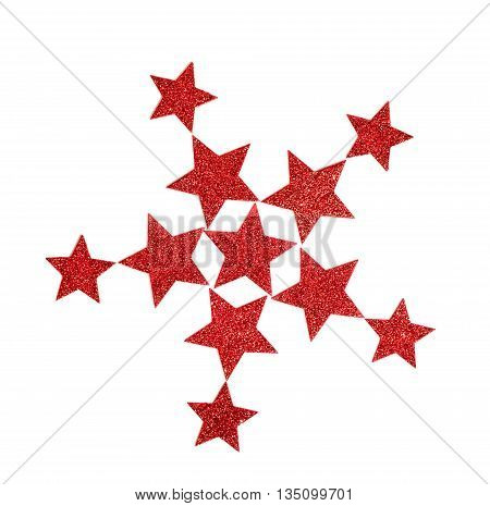 Red shining stars isolated on white background