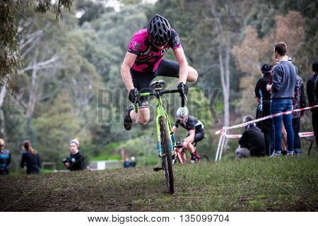 MELBOURNE, AUSTRALIA - JUNE 20: Competitors compete in Rnd 1 of the Dirty Deeds Cyclocross Series 2016