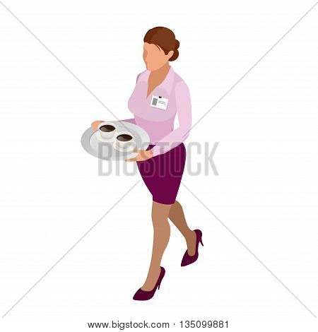 Waitress with tea pot and tea cup. Tea waitress for cafe or waitress for fast food restaurant. flat 3d vector isometric illustration