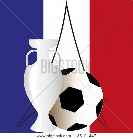 Euro 2016 official Cup vector on the background of the French flag, ball, Cup, Eiffel tower - symbols of the European championship