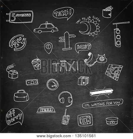 Taxi transportation set. Hand drawn vector stock illustration. Chalk board drawing