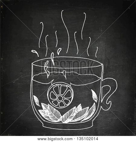 Tea with lemon and mint. Hand drawn vector stock illustration. Chalk board drawing
