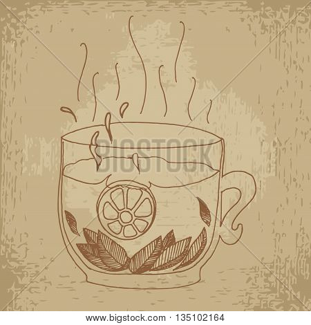 Tea with lemon and mint. Hand drawn vector stock illustration. Vintage grunge drawing