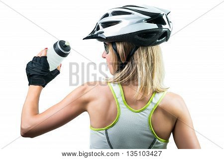 Cyclist drinking a water. Concept Winning in sports. Isolated on white background