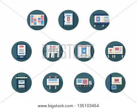 Samples of ads and promotion places and objects. Billboards, signboard, paper ads and cars. Outdoor advertisement elements. Set of blue round flat style vector icons.