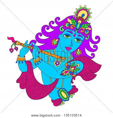 drawing of god lord Krishna for Janmashtami festival, vector illustration