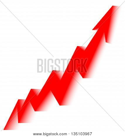red arrow graph goes up on a white background