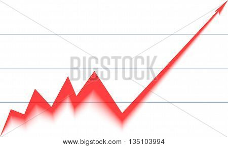 red arrow graph rising on a white background
