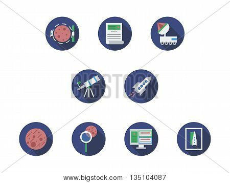 Expedition to Mars concept. Space journey theme. Spaceship, red planet, equipment for research and discovery of cosmic objects. Set of blue round flat style vector icons.