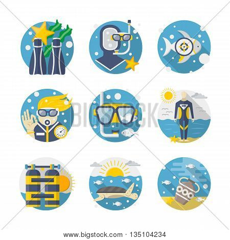 Summer vacations. Sea leisure moments - snorkeling and diving, underwater life research, treasure hunt. Round detailed flat color vector icons set. Web design elements for business, site, mobile app.