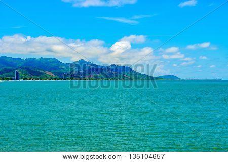 Landscape view at the coastline beaches and houses in Panama near Coronado.