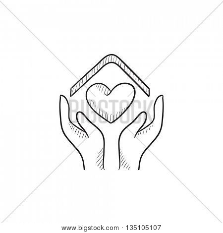 Hands holding house with heart vector sketch icon isolated on background. Hand drawn Hands holding house with heart icon. Hands holding house with heart sketch icon for info graphic, website or app.