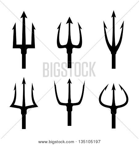 Black trident silhouette vector set. Pitchfork tool object, pitchfork weapon, pitchfork sharp fork illustration