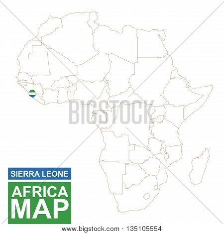 Africa Contoured Map With Highlighted Sierra Leone.