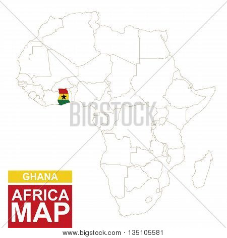 Africa Contoured Map With Highlighted Ghana.