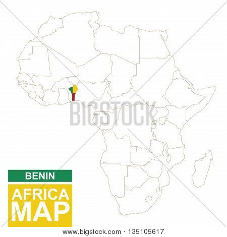 Africa Contoured Map With Highlighted Benin.