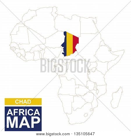 Africa Contoured Map With Highlighted Chad.
