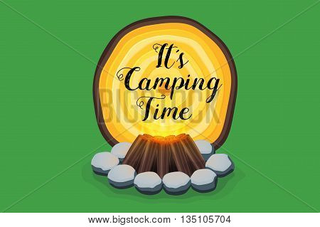 Abstract isolated vector campfire with woodden texture banner. Camping time.