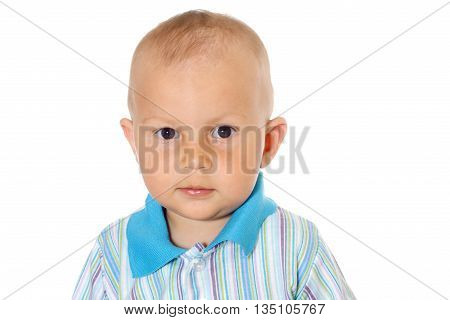 little funny baby boy on white background