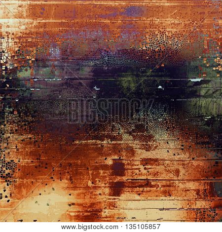 Vintage style designed background, scratched grungy texture with different color patterns: yellow (beige); brown; green; red (orange); purple (violet); black