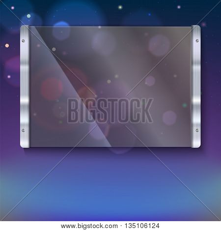 Glass plate with metal frame and bolts on the colored background. Banner of glass and metal frame with reflexes. Clear glass top festive background with blurred colored lights