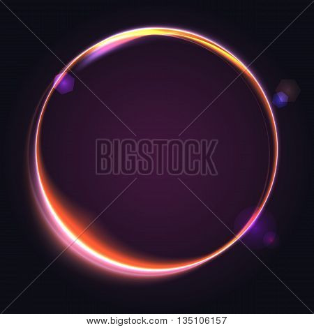 Abstract ring background with luminous swirling sparkle. Glowing spiral. Shine round frame tunnel with circles light effect. Cover for your presentation and design with space for your message.