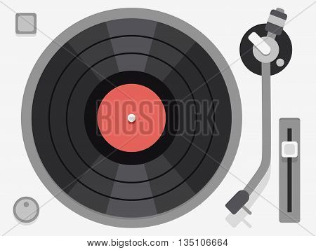 Vinyl turntable. Flat vector illustration. Audio vinyl turntable, vinyl turntable device, music vinyl turntable