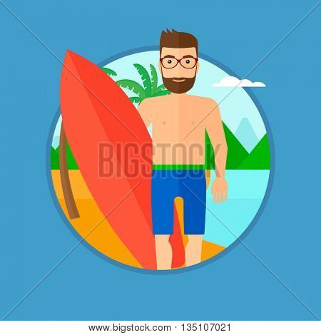 A hipster surfer with the beard standing with a surfboard on the beach. Professional surfer with a surf board at the beach. Vector flat design illustration in the circle isolated on background.