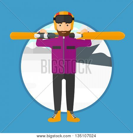A hipster man with the beard carrying skis on his shoulders on the background of snow capped mountain vector flat design illustration. Square layout.