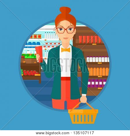 Young woman holding a shopping basket in one hand and a tube of cream in another. Customer shopping at supermarket with basket. Vector flat design illustration in the circle isolated on background.
