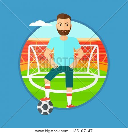 Sportsman standing with football ball on the football stadium. Professional football player with a soccer ball on the field. Vector flat design illustration in the circle isolated on background.