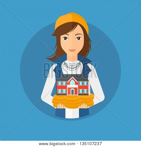 Young woman holding house model in hands on the background of sky. Real estate agent with house model in hands. Vector flat design illustration in the circle isolated on background.