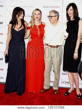 Penelope Cruz, Scarlett Johansson, Woody Allen and Rebecca Hall at the Los Angeles premiere of 'Vicky Cristina Barcelona' held at the Mann Village Theater in Westwood, USA on August 8, 2008.